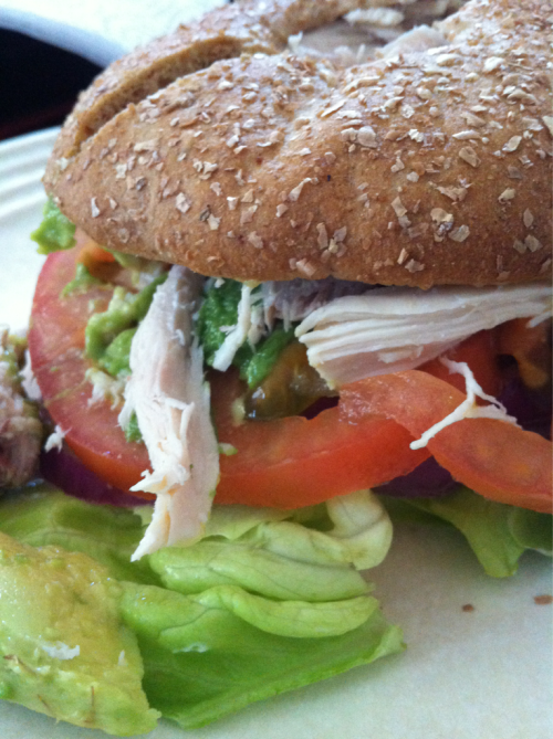 Lunch!! Chicken, avocado, lettuce, thin bread, and tomatoes!!