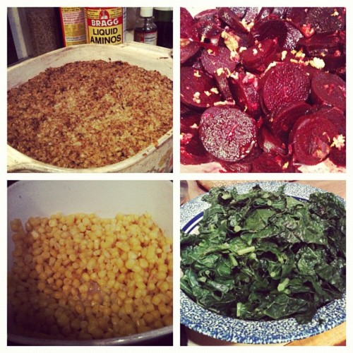 Just cooked up a delicious healthy meal!! #corn#steamedkale#citrusbeets#ricewalnutcasserole#homecooking#vegan#veganstastebetter (Taken with Instagram)