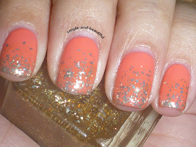 Color Club Coral Cascade & NYX Gold Glitter