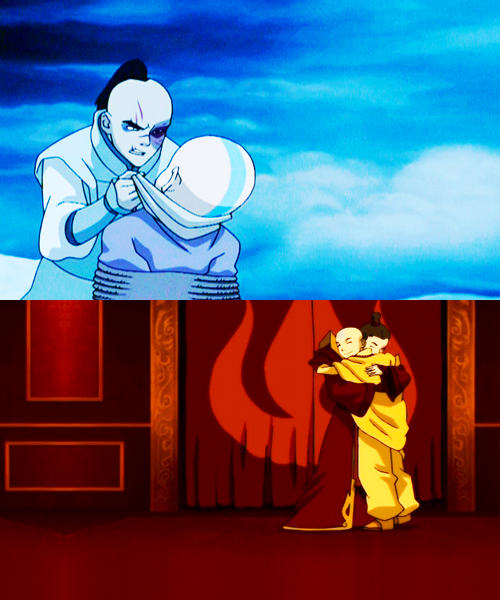 Zuko: I can't believe a year ago my purpose in life was hunting you down. And now- Aang: And now we're friends.Zuko: Yeah. We are friends. Aang: I can't believe a year ago I was still frozen in a block of ice. The world's so different now.Zuko: And it's gonna be even more different. We'll rebuild it together.    That scene always makes me bawl like a little bitch.