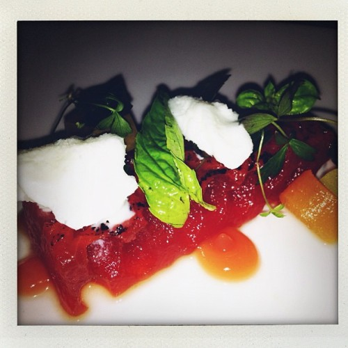 Watermelon salad with buttermilk snow. @stevecruzforeal  (Taken with Instagram)