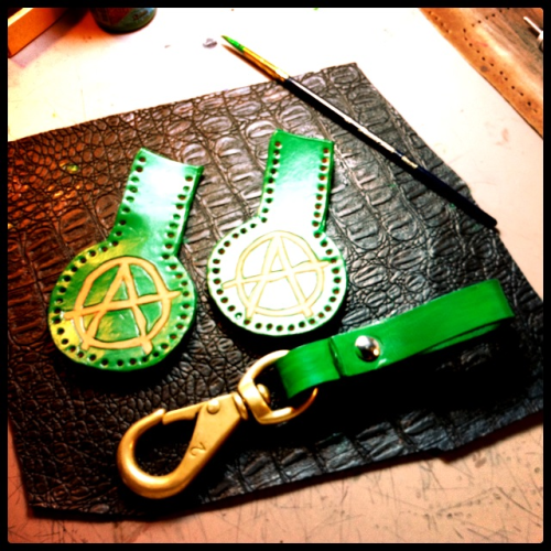 Custom order for a keychain and belt loop …  Leather punched, painted, by me. Still have a few more things to do before sewing it all up and  turning it over to it's new owner http://sabiduriaysuerte.weebly.com/contact.html
