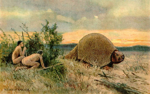 moschops911:  A Gyptodon is stalked by hunters in a painting by Heinrich Harder.