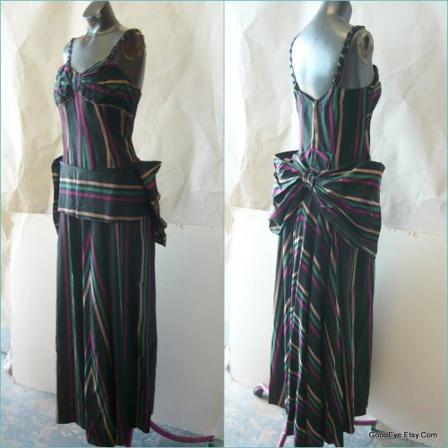 1940s - 50s Cocktail Dress..Chevron Bias cut with Giant Bow..sz 6 8 10 @  www.GoodEye.etsy.com
