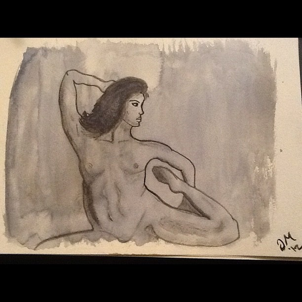 I haven't drawn in months. Pencil and watercolor. #art #nude #woman #bewbs (Taken with Instagram)