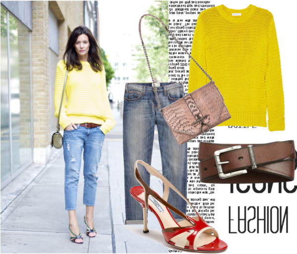 Yellow Sweater & Jeans by lidia-12 featuring distressed jeansAltuzarra cotton sweater, $358Current/Elliott distressed jeans, $238Prada shoes, $355Givenchy genuine leather handbag, €1.498FOSSIL wide leather belt, $35