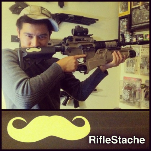Behold the RifleStache! #riflestache #airsoft #killingangels #mustache #rifle #stock #m4 #eglm #tacticool #tactical #awesome #instagood (Taken with Instagram at Outer Heaven)