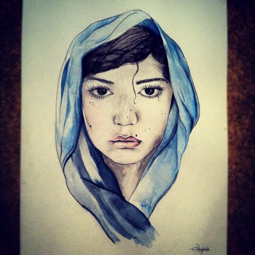 Newest portrait. #portrait #art #design #illustration #woman #sketch #painting #lady #sad #artist  (Taken with Instagram)