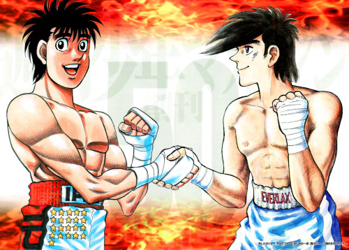 "A crossover of my two favorite Boxing Manga HEROES! Ippo Makunouchi from ""Fighting Spirit"" and Joe Yabuki from ""Tomorrows Joe."" http://gallery.minitokyo.net/view/451732"
