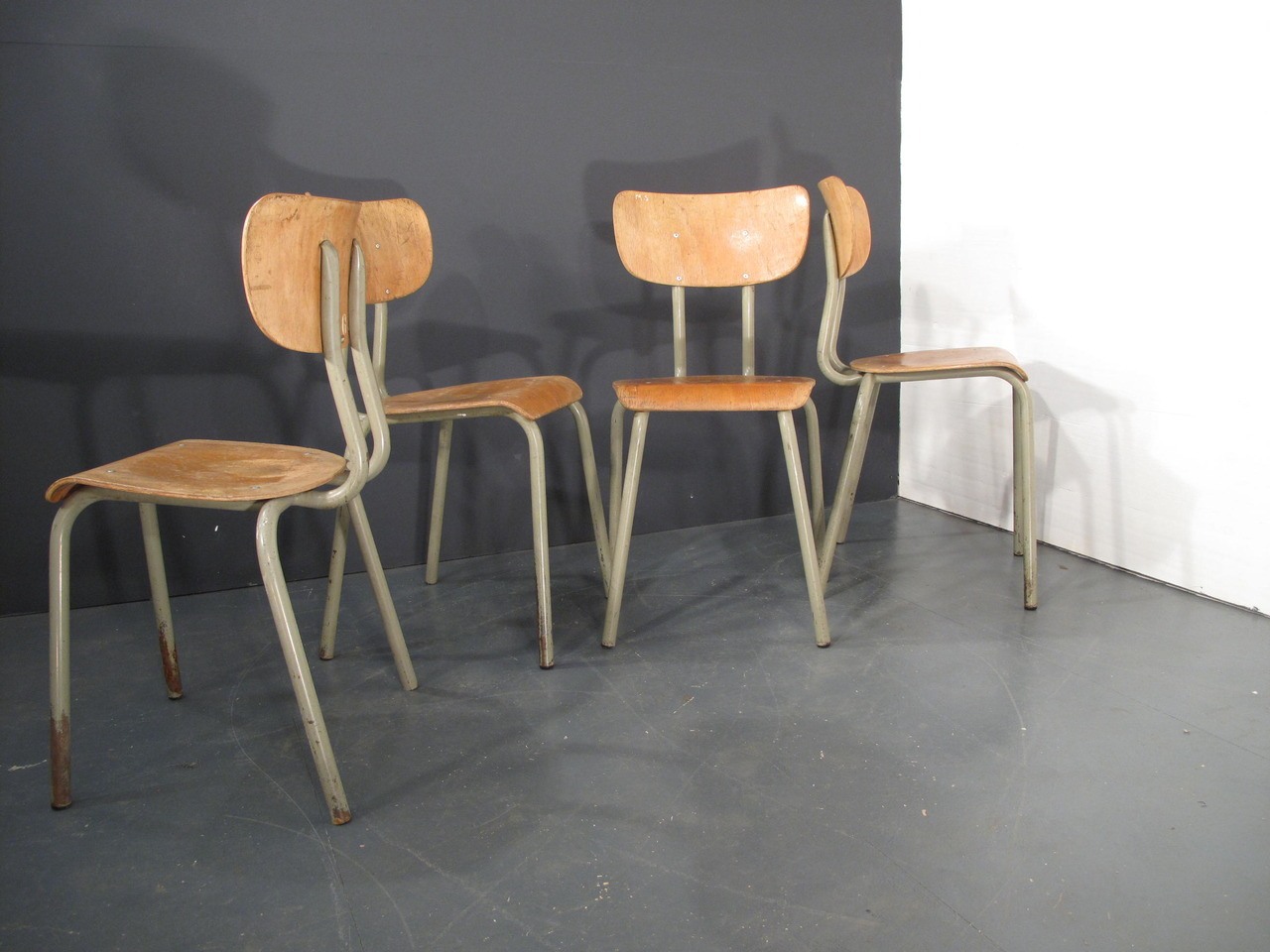 door44:  french industrial plywood chairs. 8 available  £40 each