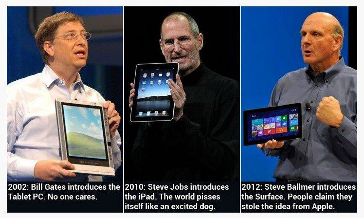 "Point of Views. 100% of Apple fans: ""Microsoft stole the idea of tablets"". Admit, who copied who?"