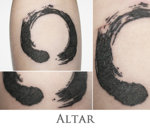 Enso tattoo done in pointillism technique on my right forearm. Done by Altar Tattoo in Denpasar-Bali. Link of his gallery: https://www.facebook.com/altar.altarus http://altar.tumblr.com/