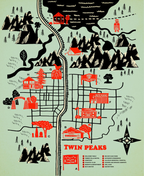 Map of Twin Peaks. Our favorite character is the log lady!