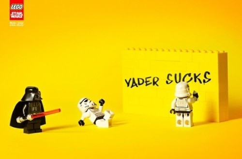 "The Empire has to work out a couple issues in this recent Lego ad featuring Star Wars. I have always loved Legos and their modern ads have been so, well, clean. The reason I chose this ad to blog about today is because one of the storm troopers has decided to use street art to spread his disdain with Lord Vader. Is this the beginning of a 2"" tall Banksy or just a vandal?  MPISA loves empirical data"