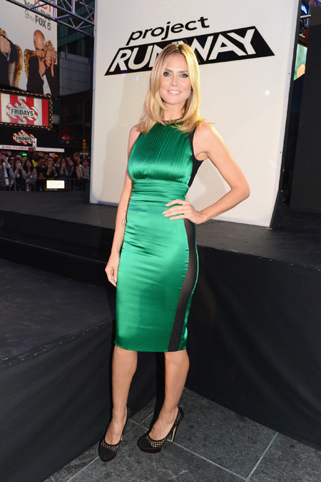 "MORE GREEN LADIES! German Model Heidi Klum attends the ""Project Runway"" 10th Anniversary Outdoor Runway Event at Times Square in New York. She looked effortlessly radiant in this bright green dress by Thomas Wylde. Will you believe she is a mother of 4?"