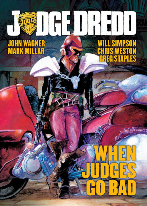 radrecorder:  Judge Dredd: When Judges Go Bad, cover by Will Simpson.  Looking forward to more Dredd, and I hope the new movie will be better that the Stallone one. Saw that one at the cinema, it kinda sucked, but I liked the comic book so I had to get the Game Boy game, which sucked way, way more. Via ComicBookResources.