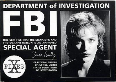 Special Agent Dana Scully. There's a bunch of fake Dana Scully FBI ID's on Ebay, but there's something way better than that: discovering X-Files fan art that has been online since the late 90s.