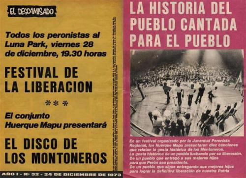 Promotional flyer for a Huerque Mapu concert in Argentina. Huerque Mapu was a folk group affiliated with the Montoneros, a left-wing Peronista guerrilla group that saw its highest activity around the turn of the 70s.