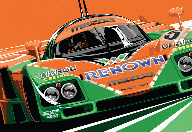 The Mazda 787B - Winner of the 1991 24 Hours of Le Mans.  Such a unique car with an unreal sound and an even more unreal livery. This poster celebrates the only japanese and only rotary powered car to win Le Mans and its insane paint job. Now available for purchase on society6.com/seankanedesign
