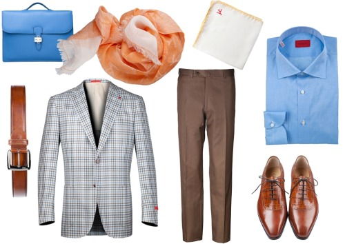bluebroguesandrosetintedglasses:  ISAIA - Beautiful brand; beautiful combination.