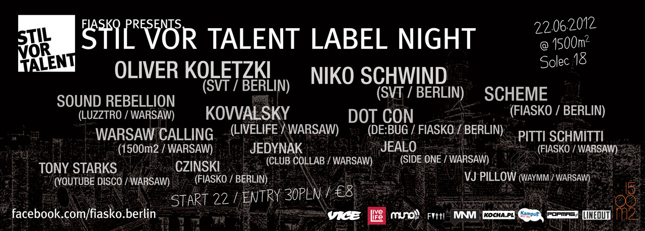 This Friday along the bank of the Vistula, the Warsaw- and Berlin-based DJ collective FIASKO will commandeer the mammoth 1500m2 venue for a marathon night of techno and electro beats.  We say marathon night because the roster is long but the names confirmed mean it's a rare occasion when quality is matching quantity. FIASKO have invited the Stil vor Talent record label into town and they've dragged along some groove-inclined pals. Expect white label legend and SvT founder, Oliver Koletzki, Niko Schwind, the FIASKO boys and a host of other top talents from Warsaw and Berlin. Check out the full line-up here.  FIASKO present Stil vor Talent | Friday 22 June, 22:00 at 1500m2, Warsaw