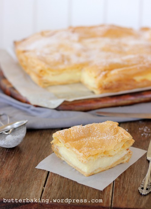 polish vanilla slice with vanilla custard.