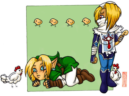Studying the Enemy Link studies his most infamous opponent while Sheik looks on in bemusement. I don't know what it is about me and Link versus chickens (cuccos, whichever you prefer). I just can't get enough of it. It's probably just amazing to me that one of the most dangerous things you can do in the series is piss off a chicken. xD It will just never get old. This is actually a re-draw of an almost identical chibi picture I did several years ago. I don't think I ever posted it, so it'll be new to even someone long familiar with my work. I think. The original was an old favorite, so I guess I must have been saving it for when I could take the time to color it and then when I finally found it again, it wasn't good enough to scan. Colored in OpenCanvas.
