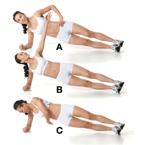 Core Challenge! Side Plank With Rotation  Challenge: 3 sets of 10 reps per side  How To Do It  In a right-side plank position…  (A) Brace your abs and reach your left hand toward the ceiling  (B). Slowly tuck your left arm under your body and twist forward until your torso is almost parallel to the floor  (C). Return to the side plank. That's 1 rep.   This move is ideal to throw in during or after your workout. Try a set every 2-3 minutes, throwing in some cardio & alternating between other moves during your rest times.  Beginners: try this move with your knees bent, stacked on top of each other.  Advanced: try it on your hands, or add a small dumbbell in the rotating hand.