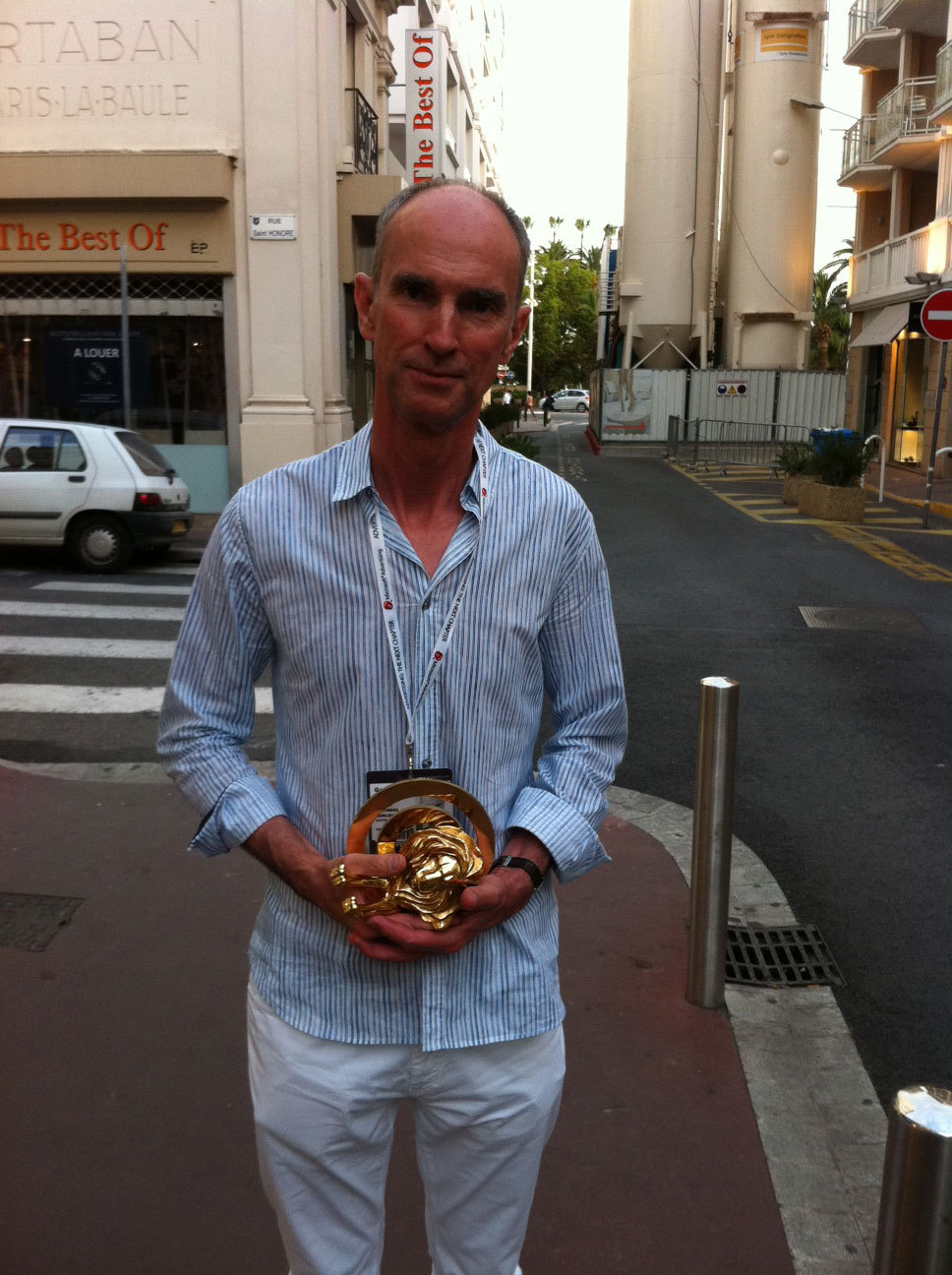 Here's Greg Delaney from @DLKWLowe with the Gold #CannesLions for Microloan Pennies for Life campaign. Congrats again!