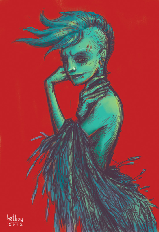 Cerulean Warm up sketch of the day. This illo doesn't mean anything again. It's just me going crazy in Photoshop and finding some footing and direction. Currently, I'm organizing my thoughts for a few paintings though. This is my problem when I do set out to make art, my brain first becomes a shriveled walnut of jumbled thoughts. At the moment I'm struggling. Ask me to make art that reflects me or what I like, than I shall work on that and think on that longer than if I have to design for someone or something else. That's how I was trained in uni, but during that process I was choking my own aesthetic voice to death. I apparently am taking a degree that kills your soul, but I guess this is only for when you've truly forgotten your passion to create art. Recently, I've been trying to revive and rediscover my voice as an artist. And it's a hard and slow journey. But I'm up for the challenge. Because I've made the impractical decision to be an artist. And I shall die like every other average artist, unknown, unappreciated, and broken. Blegh… Don't go to art school, kids.