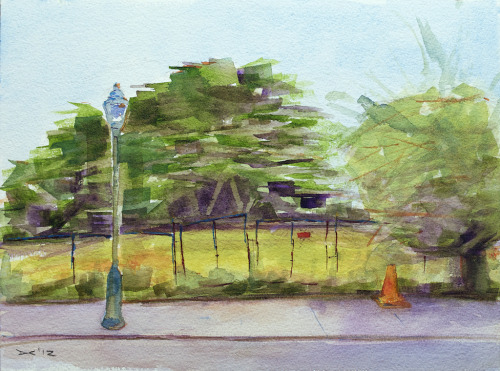 A derelict lot on Broad and South Streets, Philadelphia, watercolor, 300 lb. cold pressed paper, 23 x 31 cm, 2012 $75, domestic USPS shipping and handling included in price. Click Shipping Details for UPS shipping. Transactions accepted via PayPal, please contact the artist.