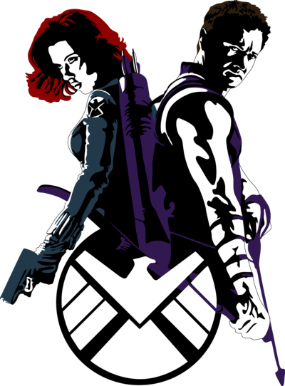 Black Widow and Hawkeye by ~Mad42Sam http://www.redbubble.com/people/mad42sam/works/9007708-black-widow-and-hawkeye - RedBubble - you can buy t-shirts with this picture here )