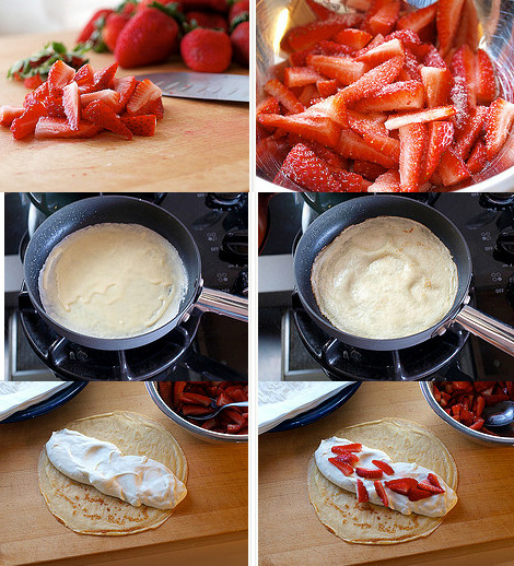 thecakebar:  Strawberry White Chocolate Mousse Crepes