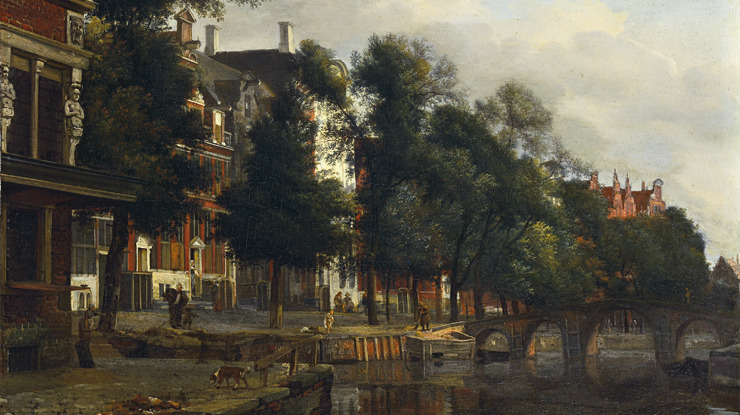 On a canal in Amsterdam, Jan van der Heyden. Dutch Baroque Era Painter (1637 - 1712)
