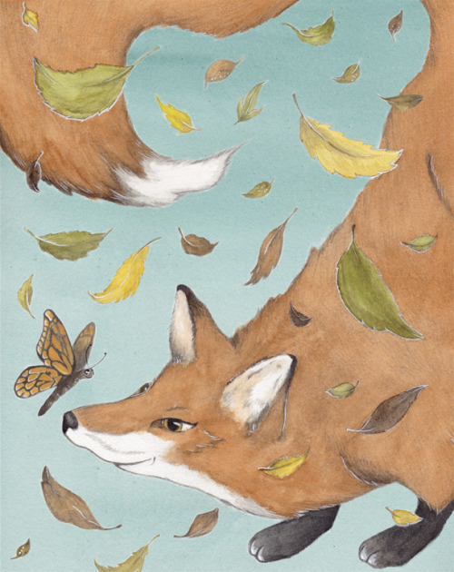 Here's a little fox I drew for an advertising illustration project for a local wildlife center in Savannah, GA.  You can check out more of my work here: http://jessicaroux.tumblr.com/ (via broken-column)