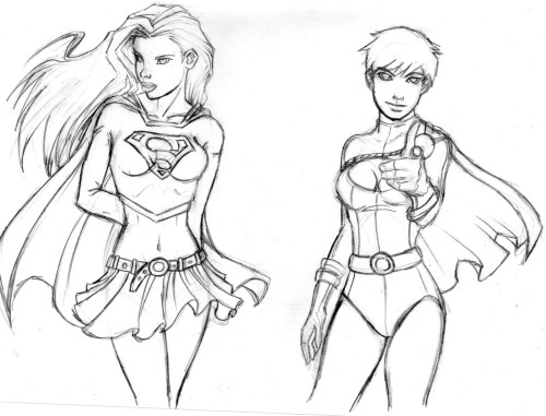 My sketches Power girl and supergirl