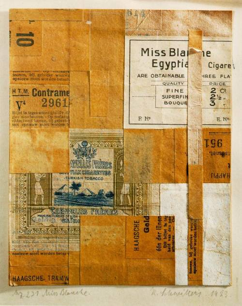 "soircharmant:  themetropolitanline :  robertrauschenberg:  Kurt Schwitters, Mz 231 Miss Blanche, 1923. Kurt Schwitters was born 125 years ago today (June 20). As a pioneer of collage, Schwitters had an important influence on Rauschenberg. After seeing a show of Schwitters' works at Sidney Janis gallery in 1959, Bob said ""I felt like he made it all just for me."""