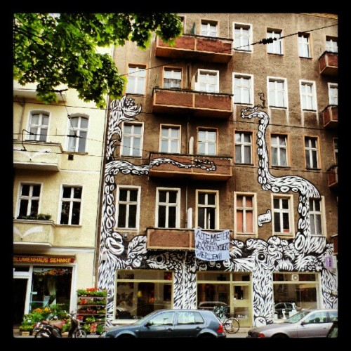 Squat house in Berlin, Germany…. #squat #halfway #art #streetart #streetculture #graffiti #Berlin #germany  (Taken with Instagram at Boxhagener Straße)