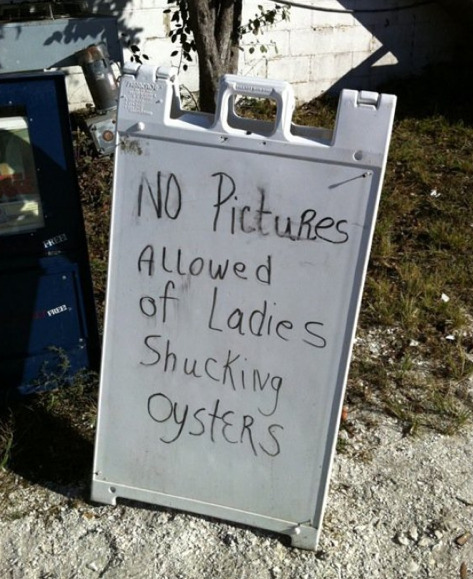 No Pictures Allowed of Ladies Shucking Oysters I have one rule in the house. Some say it's a weird rule, but it works for me.
