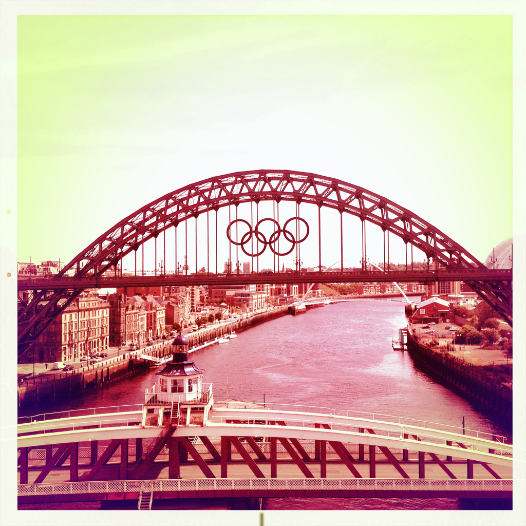 Up in Newcastle today for some training and saw the Tyne bridge replying representing (Damn iPhone auto-correct) the Olympics. Lovely view.