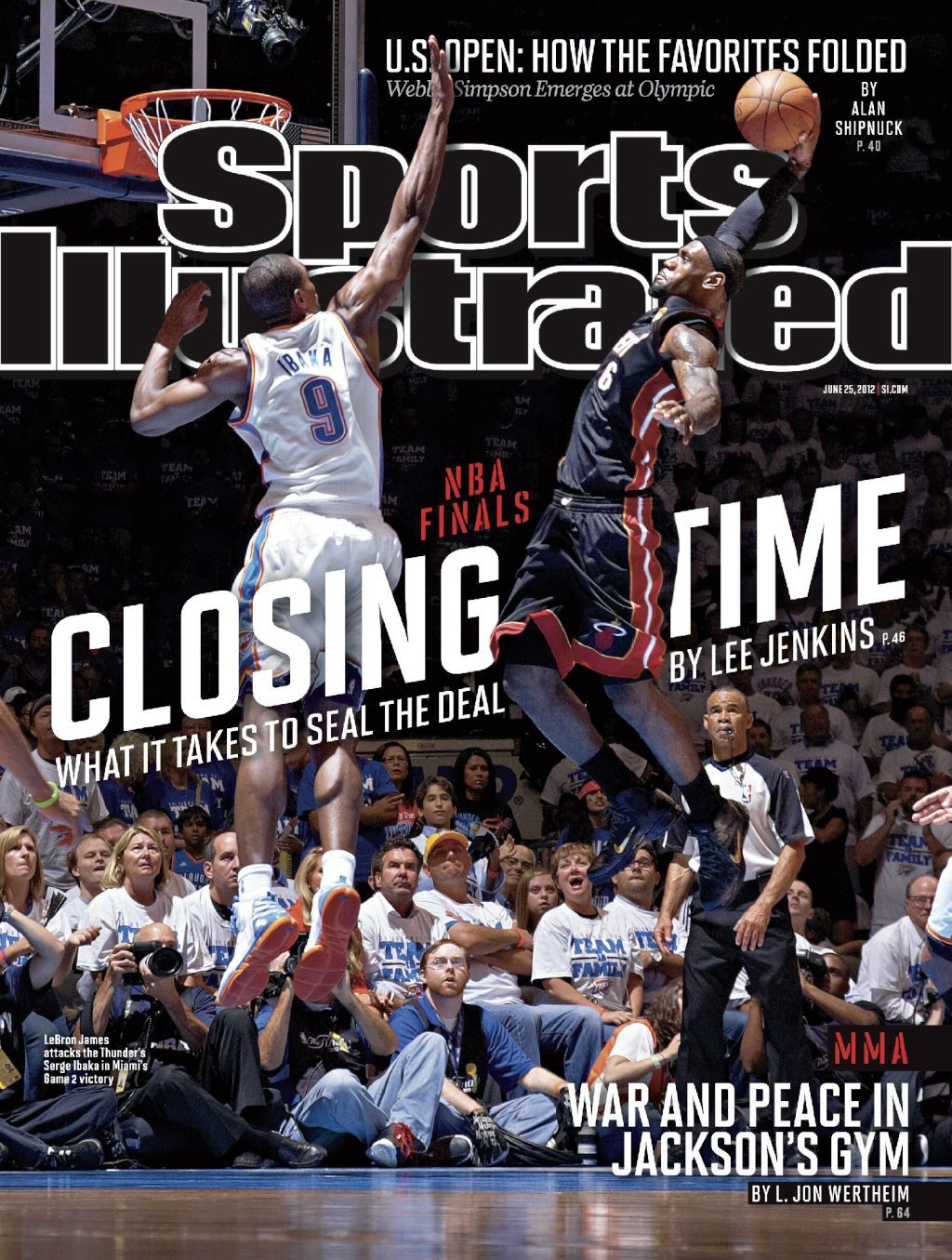 "paulkatcher:  Excellent NBA Finals cover photo on this week's Sports Illustrated, shot by Greg Nelson. Last year, Nelson was a featured photographer in this TIME Lightbox feature ""What Makes a Great Basketball Picture? A View of the NBA Finals from Sports Illustrated.""  Great shot."