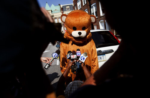 Meet Pedobear: He's an Internet-born character that mocks pedophiles and today, he showed up at Jerry Sandusky's sex abuse trial. Uhhh… (h/t MichaelHayes)