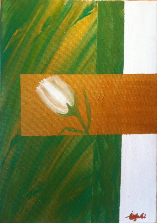 Original abstract acrylic painting, spring.
