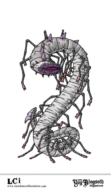 "YAKUBIAN""It was a gigantic, pale-grey worm or centipede, as large around as a man and twice as long, with a disc-like, apparently eyeless, cilia-fringed head bearing a purple central orifice. It glided on its rear pairs of legs, with its fore part raised vertically—the legs, or at least two pairs of them, serving as arms. Along its spinal ridge was a curious purple comb, and a fan-shaped tail of some grey membrane ended its grotesque bulk. There was a ring of flexible red spikes around its neck, and from the twistings of these came clicking, twanging sounds in measured,deliberate rhythms.""Robert E. Howard, Frank Belknap Long, H.P. Lovecraft, A. Merrit, C.L. Moore,The Challenge From Beyond"