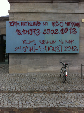 Erik Niedling with Ingo Niermann10/18/1973—02/29/2012 Neues Museum WeimarJuni 24 till August 5, 2012Opening Sat., June 23, 7 p.m.