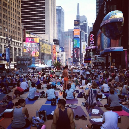 Solstice Bikram yoga in Times Square (Taken with Instagram)