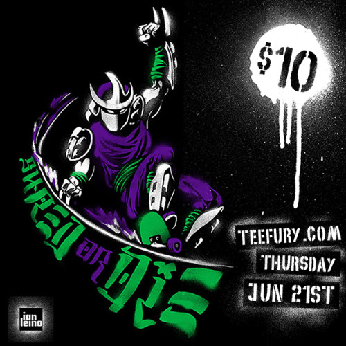 "ianleino:  Now available for sale through TeeFury.com! It's a skateboarding themed design of the classic TMNT villain Shredder, illustrated in a retro graffiti style and it's just $10 but only for 24 hours. (afterward it will be for sale through my own shop, printed on American Apparel tri-blend shirts). PLUS! Today only, use the code ""ShredOrDie"" for 10% off your order in my shop, and reblog this post for your chance to win a FREE shirt of your choice! Participate on Facebook as well to double your chances!"