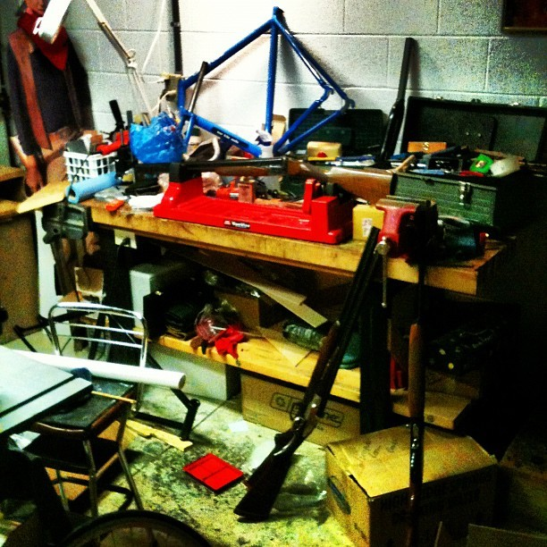 1 part guns, 1 part bike, 1 part woodworking, 1 part mess. Yep. That's a shop. (Taken with Instagram)