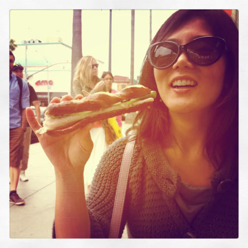 Santa Monica date. Eating mini sandwiches.