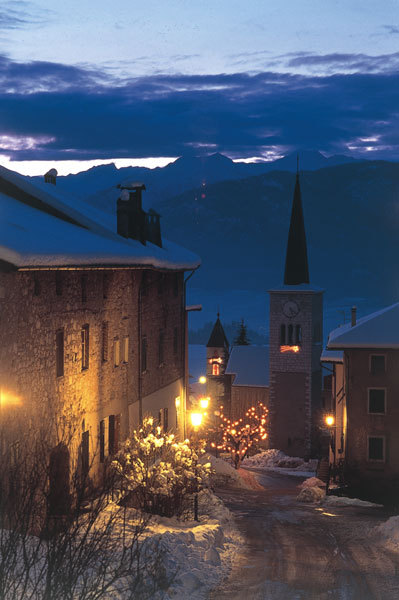 Val di Non by night, in winter. Fairytale.
